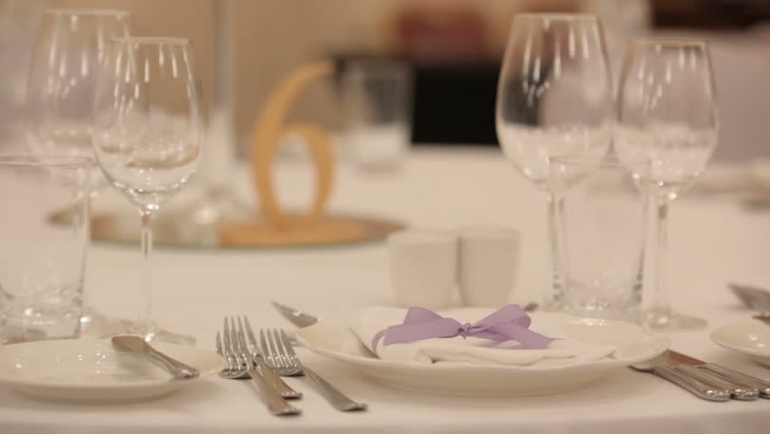 Elegant Candlelight Dinner Table Setting At Reception Stock Footage ...