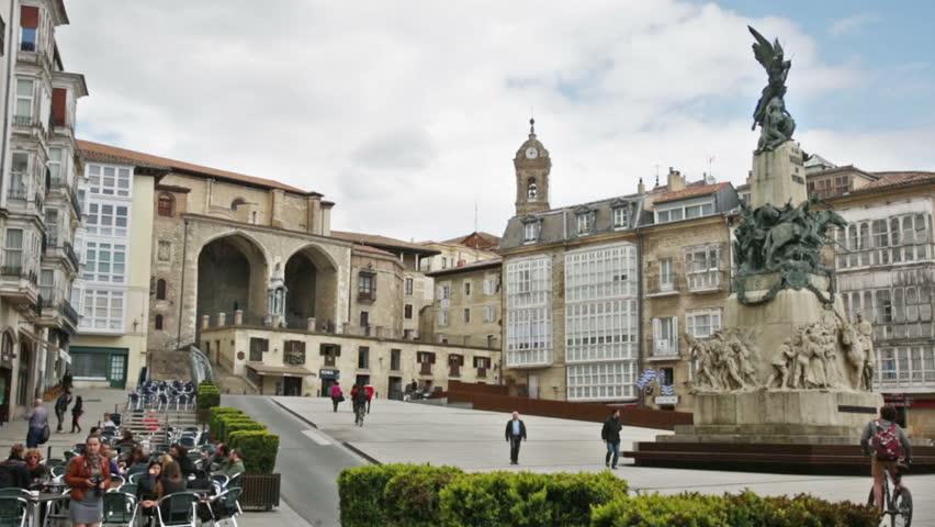 SAN SEBASTIAN, SPAIN - APRIL 21, 2016: Day view of Virgen Blanca Square (Andre Maria Zuriaren plaza). Vitoria-Gasteiz,  Spain