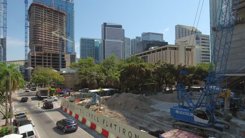 BRICKELL - MARCH 15: Aerial tour of Brickell which is a city southwest of Miami currently undergoing numerous construction projects as the neighborhood values are on the rise March 15, 2016.  | Shutterstock HD Video #16741441