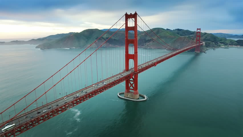 Aerial view of the Golden Gate Bridge in San Francisco. USA. Daylight. Shot from helicopter.  | Shutterstock HD Video #16753381