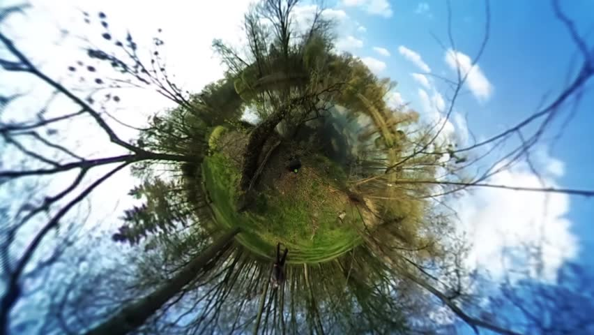 People in Green Park, Forest, Spherical Panorama Video, vr Video 360, Little Planet Video, Video For Virtual Reality, River or Lake is at the Forest, Fresh Green Trees and Grass, Sunny Day, People