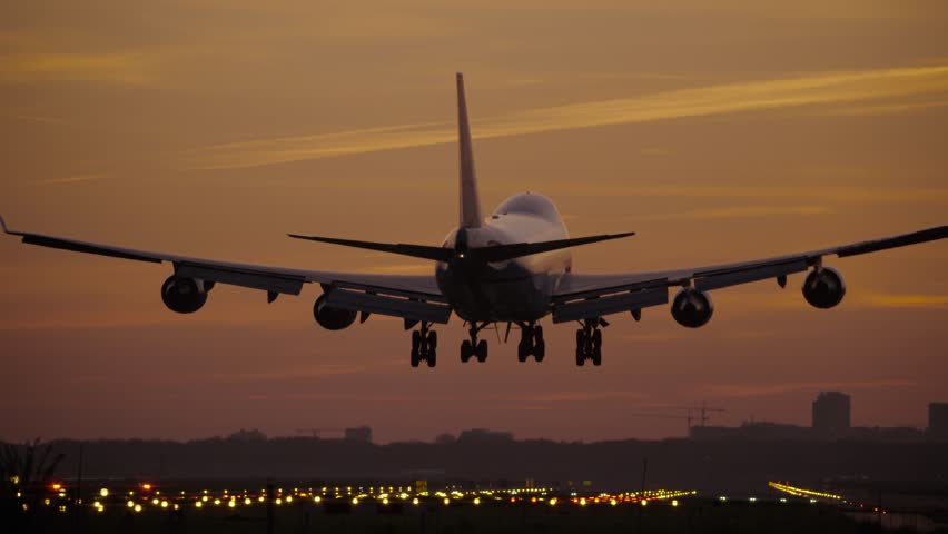 4K Jumbojet landing at dusk | Shutterstock HD Video #16780861