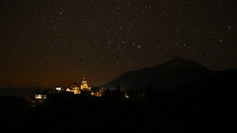 Mount Athos night scape, St Andrews Skete