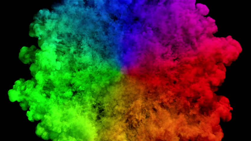 Colored smoke radial explosion on black (slow motion, with alpha matte, full hd)