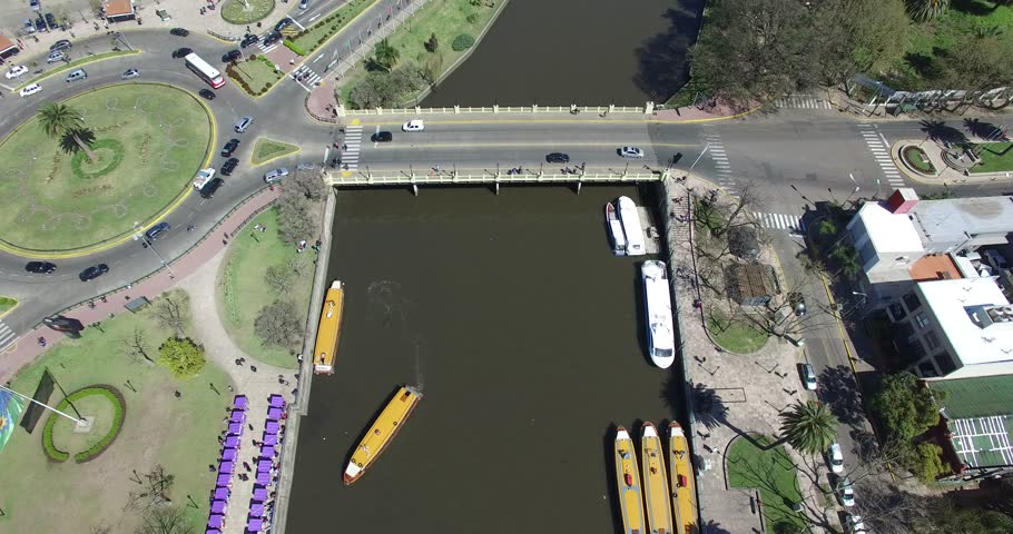 Aerial drone scene of Tiger river. Camera travels along the channel, top view, from bridge to greener scenery changing to panoramic view. Buenos Aires, Argentina.
