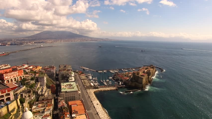 Naples - 25 FEB: Aerial view of the Gulf of Naples with the Castel dell'Ovo on 25 February 2016 in Naples, Italy