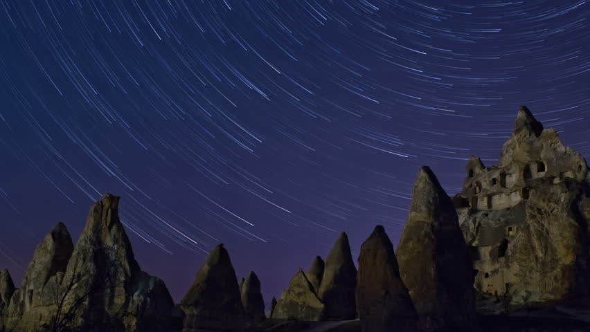 Night Mountain landscape with star trails,  in Cappadocia, Turkey. 4K  time lapse.