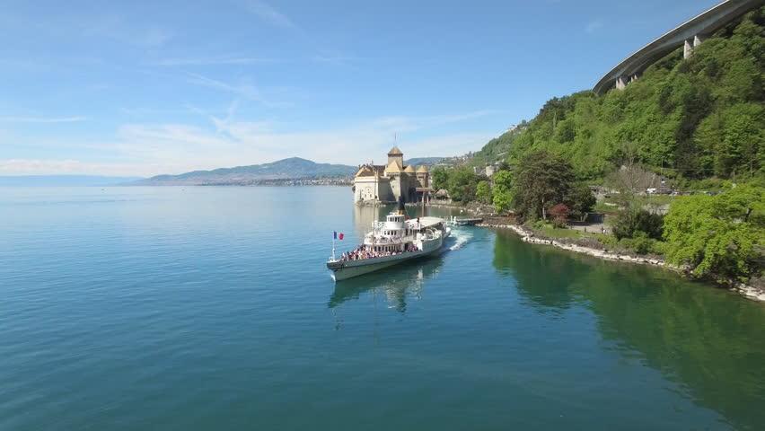 4K CGN Swiss boat / ship on lake Geneva / Iconic aerial view of Switzerland