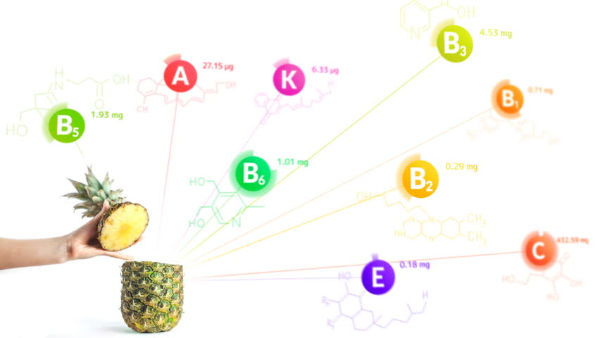 Vitamins fly out of the pineapple with the formulas and nutrition facts