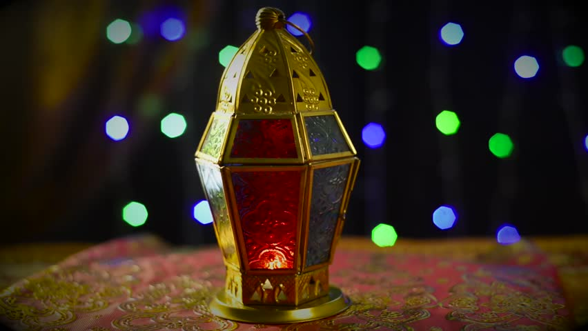 Traditional Ramadan Lamp Against Festive Lighting Revolving With Clear Space For Supers Islamic