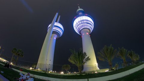 The Kuwait Towers timelapse hyperlapse - the best known landmark of Kuwait City. Kuwait, Middle East
