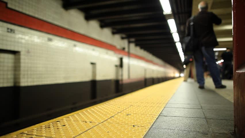 New York City subway train arriving