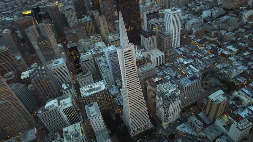 Transamerica Pyramid. Financial District, San Francisco. United sates. Aerial view. Shot from a helicopter.
