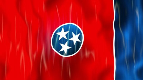 Tennessee State Flag Animation Ultra HD, 3840x2160 Pixels, Realistic Flag Animation,  High Quality Quicktime animation Movie works with all Editing Programs,  20 Seconds Duration