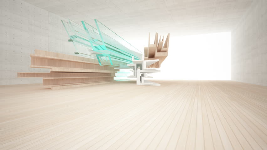 Abstract interior of wood, glass and concrete.3D animation. 3D rendering. Part 1