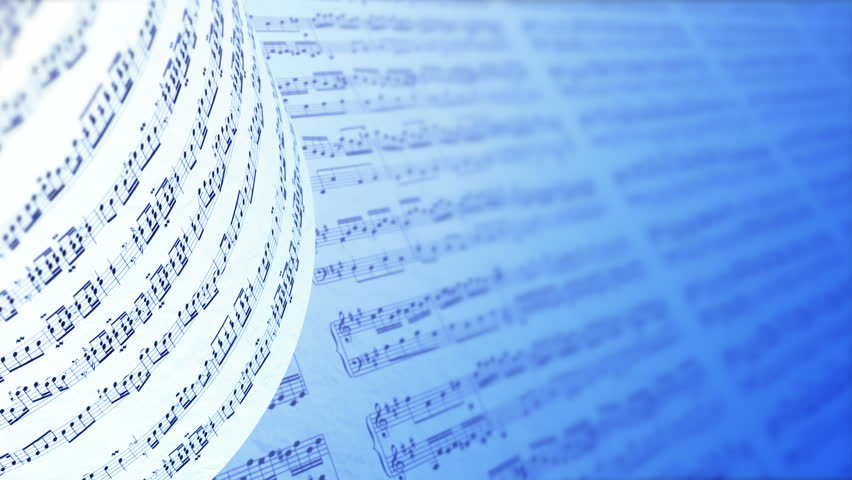Music notes background in blue. Abstract Background With The Music Book. A Collection of High Quality Music Notes Texture. Music notes symbols. Seamless loop. Versions: 4k, Ultra HD, Full HD (1080p).   Shutterstock HD Video #16995211