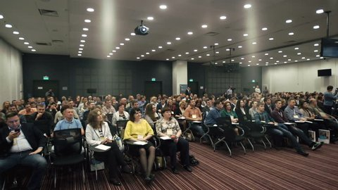 Novosibirsk Russia - May 31 2016: People on the forum on business development. The audience. Hall is full