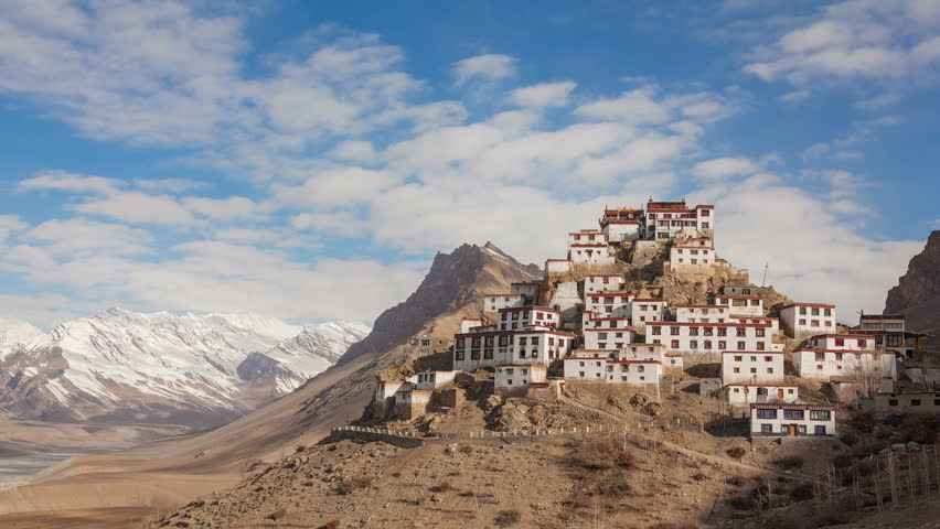 Time Lapse of Key Gompa Monastery (4166 m) at sunrise. Spiti valley, India. Canon 5D MkII.