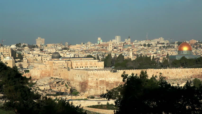 the walled Old City of Jerusalem, Israel.  The Temple Mount and the Dome Of The