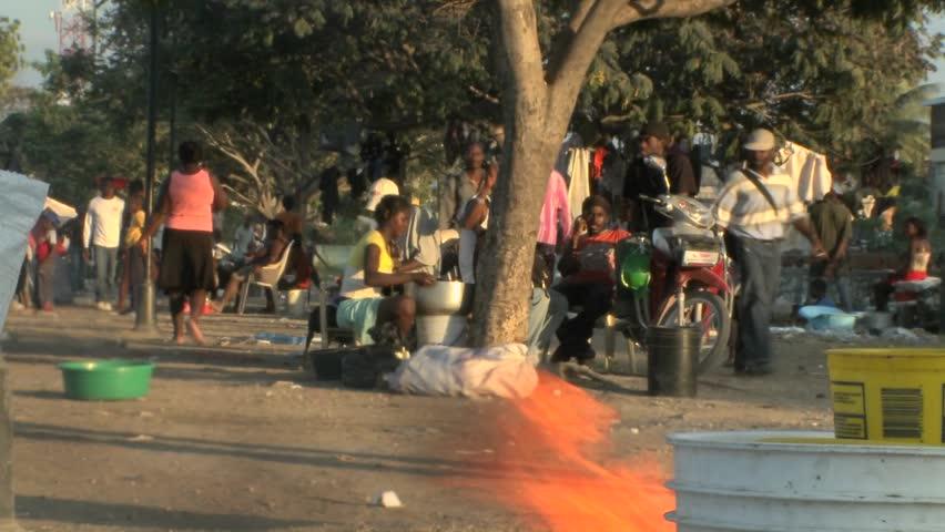 PORT-AU PRINCE, HAITI - CIRCA 2010: refugees waiting around post earthquake circa 2010 in Haiti.