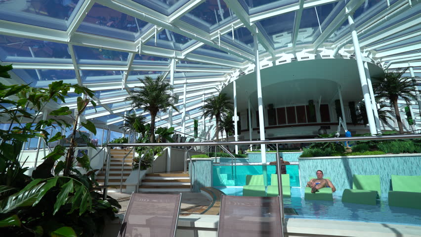 Indoor swimming pools on the cruise ship - December 2015: Anthem of the seas, Royal Caribbean   Shutterstock HD Video #17072671