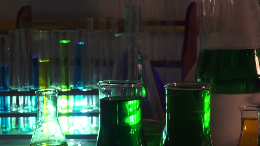 Scientific measurements with multicolored liquids and substances in chemistry lab, ULTRA HD 4K, real time   Shutterstock HD Video #17092291