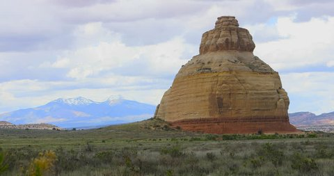 Monticello Utah red sandstone rock landscape formation. Church Rock is a solitary column of sandstone in southern Utah near the entrance to the Needles District of Canyonlands National Park.