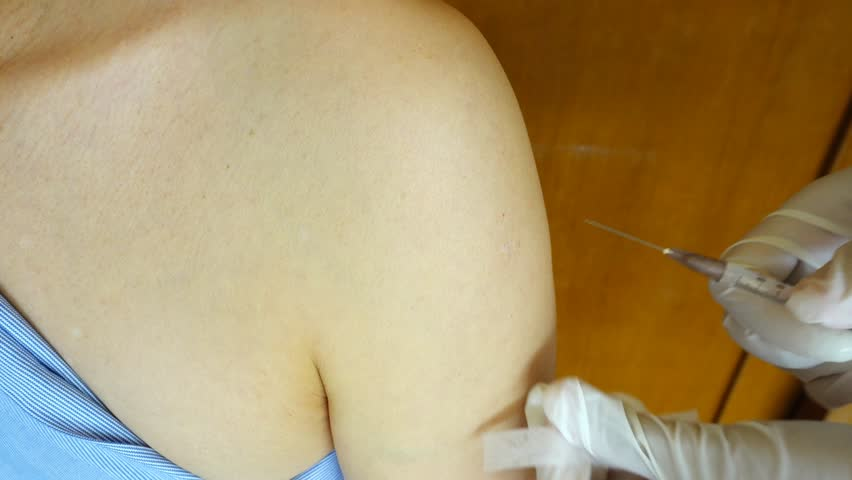 closeup of injection vaccine
