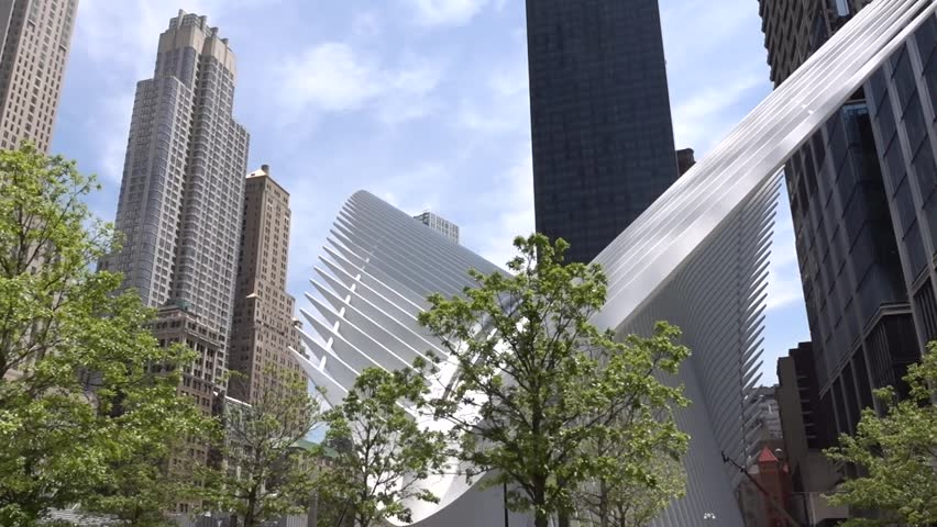 911 Memorial Plaza near New world trade center  building in New York city. Smooth movement