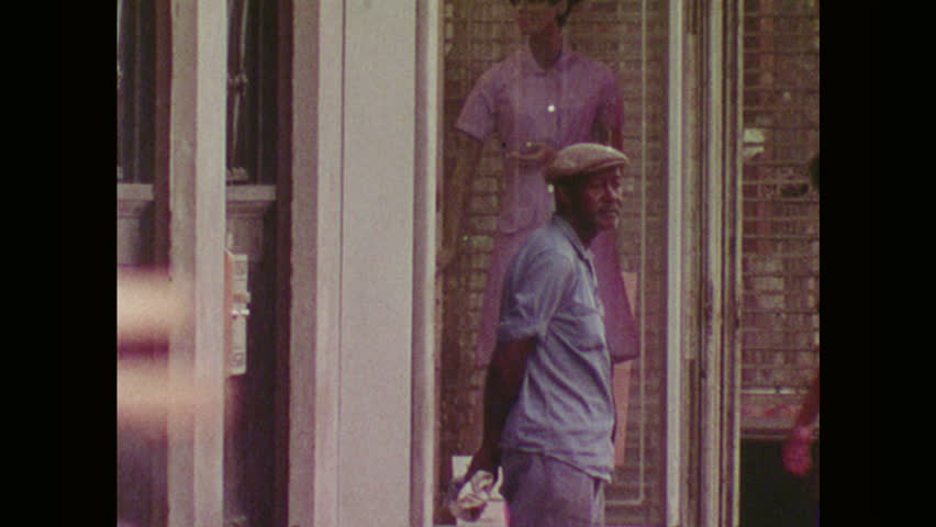 UNITED STATES 1970s Man Walks Along Street and Crosses Road - HD stock footage clip & Food Delivery At Door. Takeaway Food Bags Being Delivered To Door ...