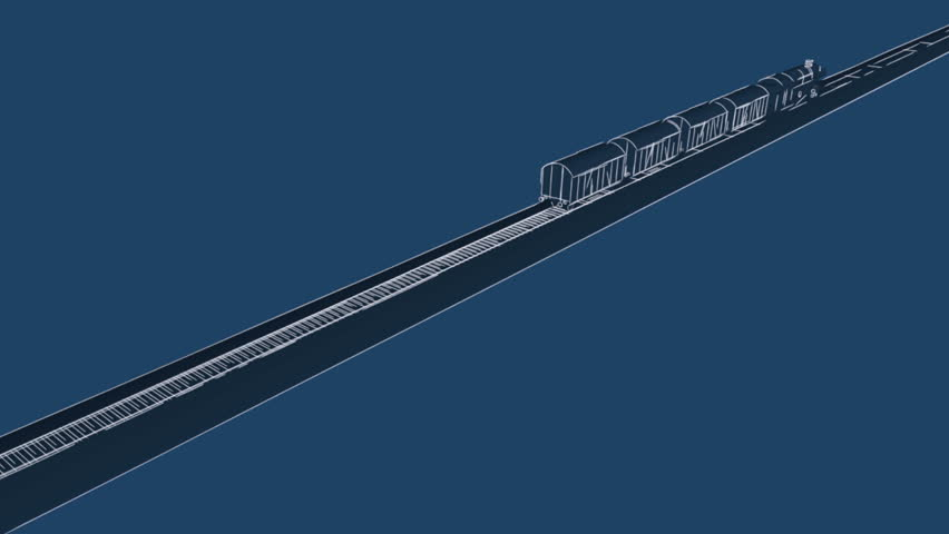 Outline sketch blueprint cartoon 2d animation of old steam old steam engine train with freight carriages and locomotive ahead passing by on dark blue background malvernweather Images