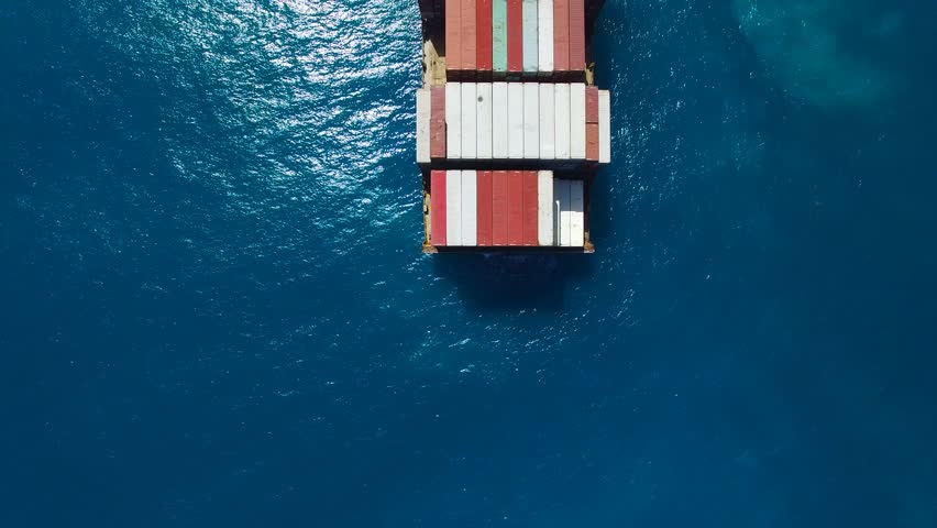 Large container ship at sea - Aerial footage