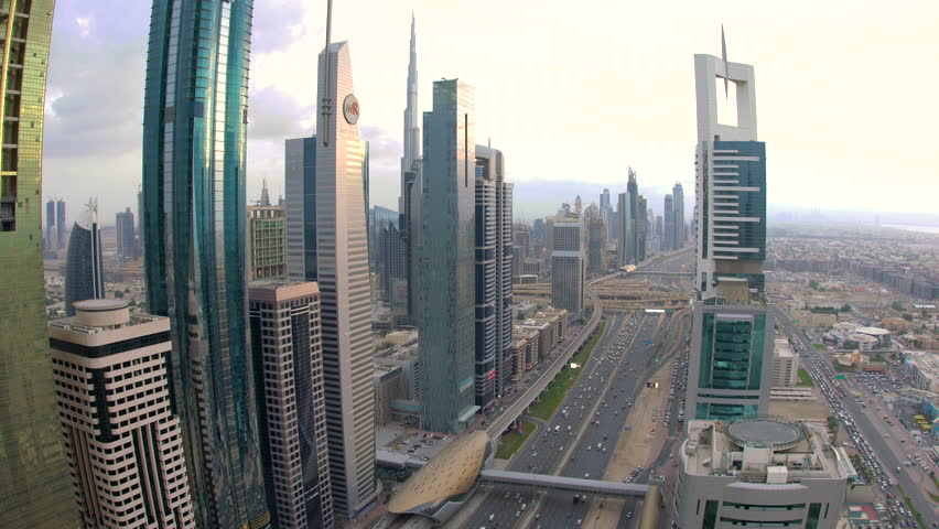 DUBAI, UNITED ARAB EMIRATES - FEBRUARY 2016: View over skyscrapers lining Sheikh Zayed Road at dusk, Dubai