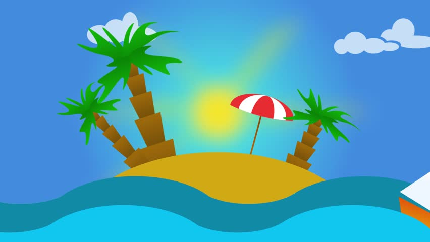 animation of tropical landscape