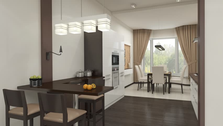 Flight from the living room into the kitchen animation  | Shutterstock HD Video #17187535