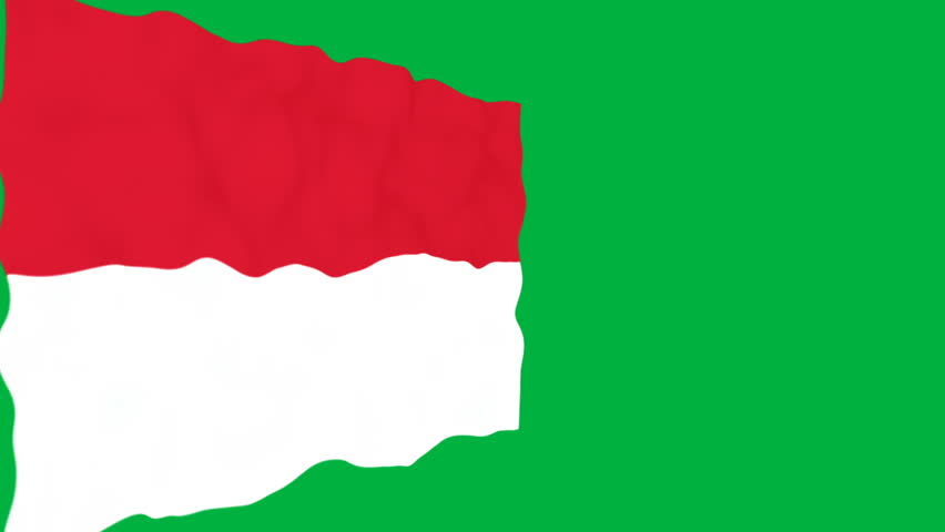 Flag of Monaco. Official Monaco flag. Isolated waving Monaco national flag on green background.