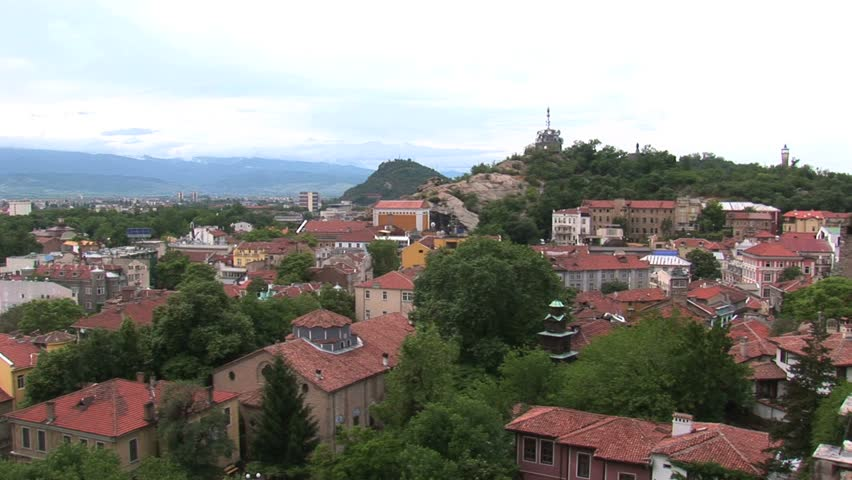 from city view a pan to Roman Theater Plovdiv, Bulgaria