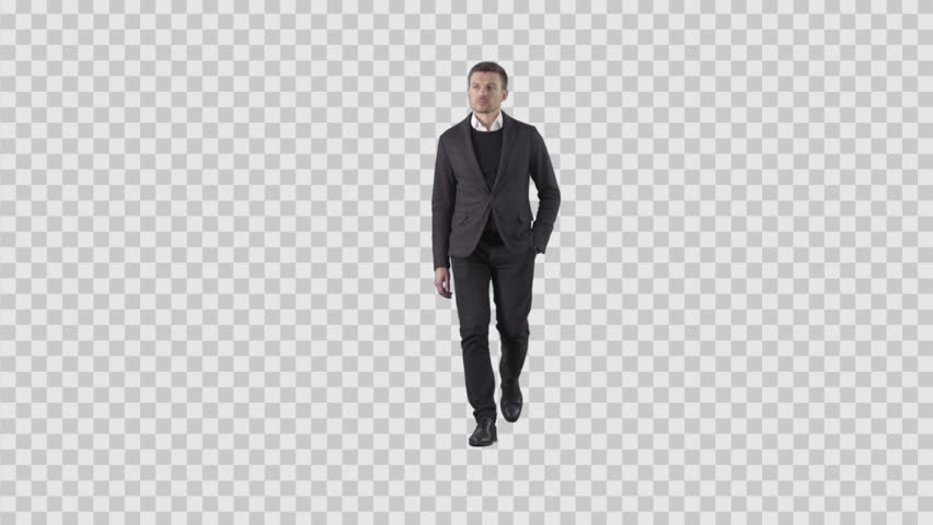 Attractive young businessman is walking at the camera. Lens 85 mm. Camera is static. Footage with alpha channel. File format - .mov, codec PNG+Alpha