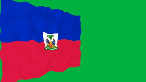 Flag of Haiti. Official Haiti flag. Isolated waving Haiti national flag on green background.