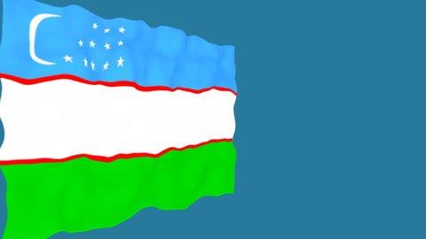 Flag of Uzbekistan. Official Uzbekistan flag. Isolated waving Uzbekistan national flag on blue background.