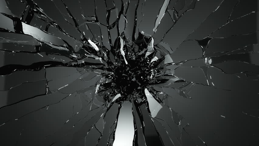 Cracked and Shattered black glass with slow motion 4?. Alpha is included
