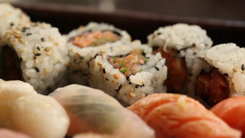Assortment of different type of sushi taken with a macro lens #17254531