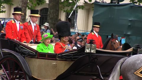 London - JUN 11, 2016: Her Majesty Queen Elizabeth II and Prince Philip, The Duke of Edinburgh at the Trooping of the Colour on Jun 11, 2016 in London