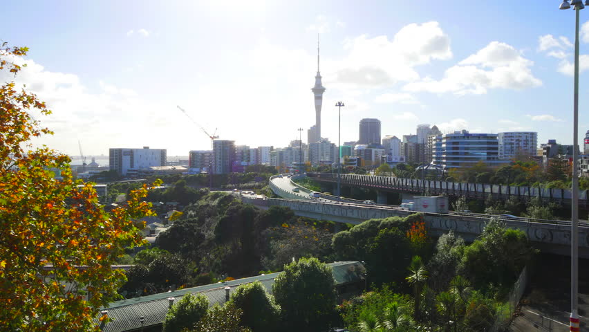 NEW ZEALAND - AUCKLAND - JUNE 2016 - Hyperlapse of Auckland's skyline and motorways.