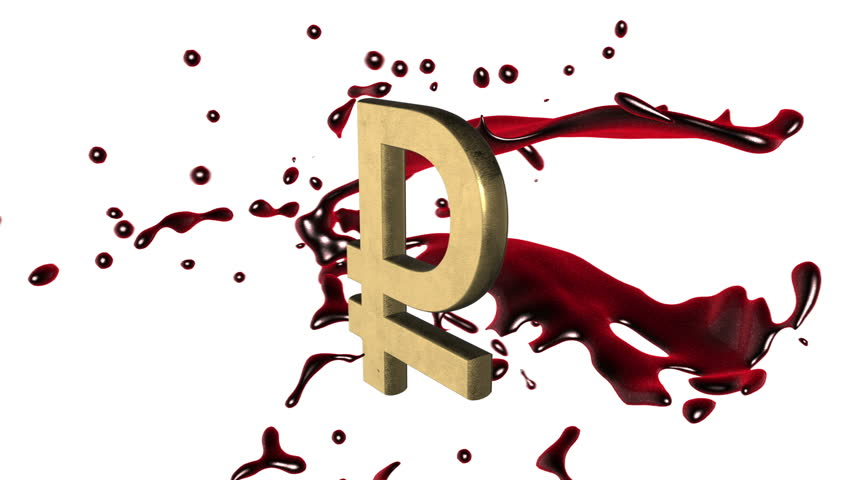 Looped animated background: 3d red-scarlet blood splash rotate around the symbol of  golden  ruble-rouble on the white background. 4k. Seamless loop. Alpha matte.