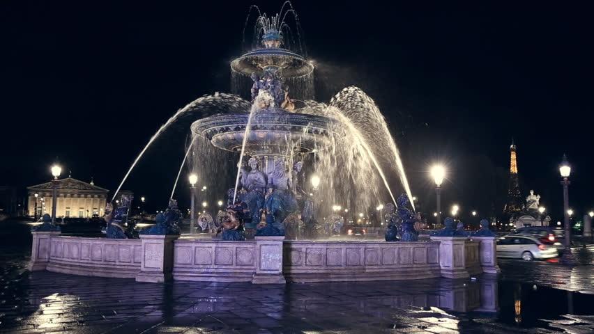 Beautiful fountaint on the Place de la Concorde at night in Paris | Shutterstock HD Video #17312311