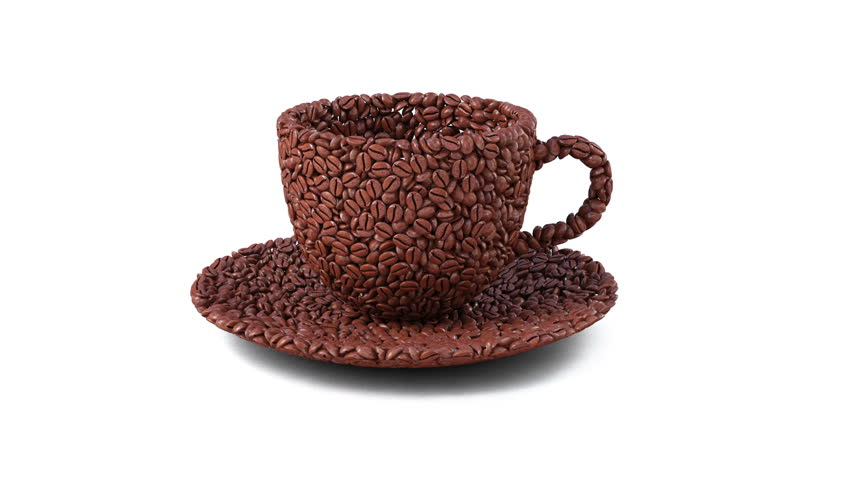 coffee beans are collected in the form of a cup.