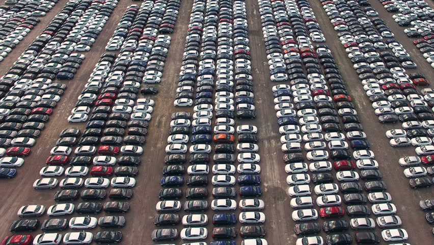 Aerial view of storage parking with new unsold cars | Shutterstock HD Video #17360719