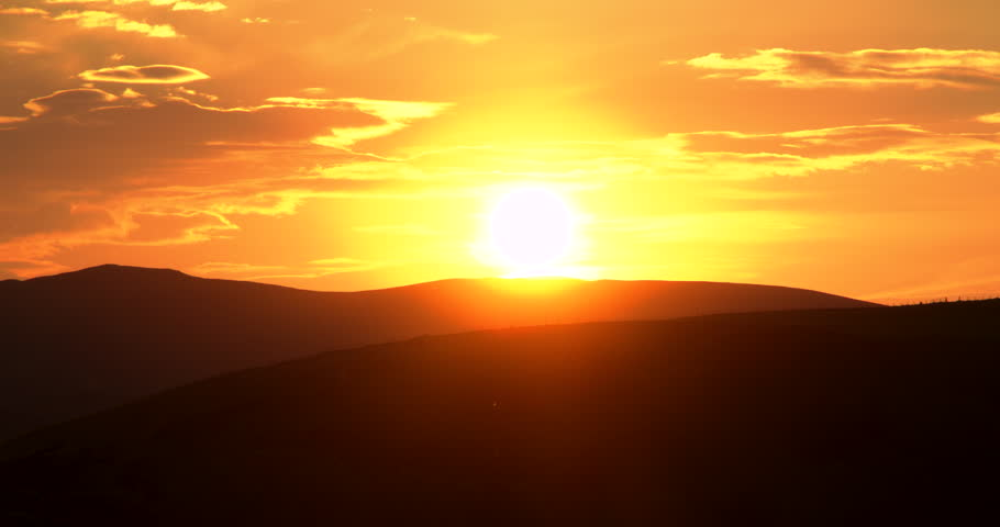 The Sun Setting Behind The Beautiful Welsh Mountains. #17376451