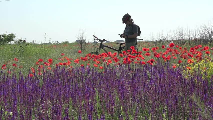 Tourist on bicycle photographed on mobile phone fantastic nature meadow
